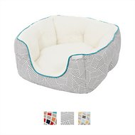 Frisco Deep Bolster Square Dog Bed, Gray Basket Weave Print