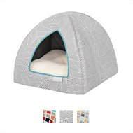 Frisco Dog & Cat Igloo Bed Cave, Gray Basket Weave Print