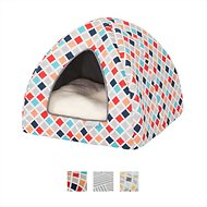 Frisco Dog & Cat Igloo Bed Cave, Earthy Tone Geo Print