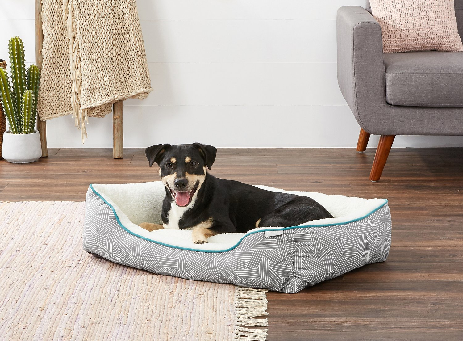 Frisco Sherpa Bolster Rectangular Dog Bed Gray Basket Weave Print Comfy Baby Memory Foam Hover To Zoom