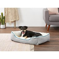 Frisco Sherpa Bolster Rectangular Dog Bed, Gray Basket Weave Print, Large