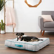 Frisco Tufted Lounger Square Dog Bed, Gray Basket Weave Print, Large/X-Large