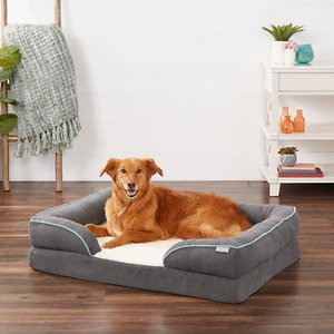 Frisco Plush Orthopedic Front Bolster Cat & Dog Bed