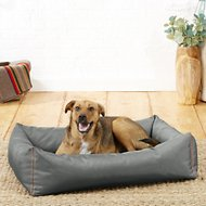 Helix Durable Bolster Rectangular Dog Bed, Dark Gray, Large