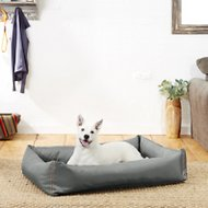 Helix Durable Bolster Rectangular Dog Bed, Dark Gray, X-Large