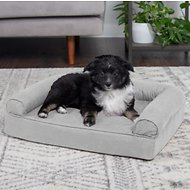 FurHaven Quilted Orthopedic Sofa Dog & Cat Bed, Small, Silver Gray