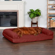 FurHaven Quilted Orthopedic Sofa Dog & Cat Bed, Jumbo, Wine Red