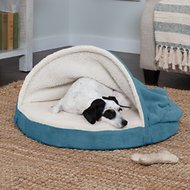 FurHaven Faux Sheepskin Snuggery Orthopedic Dog & Cat Bed, 26-inch, Blue