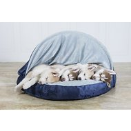 FurHaven Microvelvet Snuggery Orthopedic Dog & Cat Bed, 35-inch, Navy