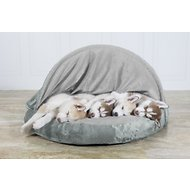 FurHaven Microvelvet Snuggery Orthopedic Dog & Cat Bed, 35-inch, Gray