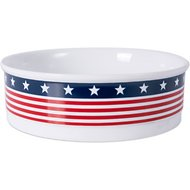 Bone Dry Patriotic Ceramic Dog and Cat Bowl, Large