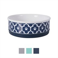 Bone Dry Lattice Ceramic Dog and Cat Bowl, Medium, Nautical Blue