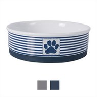Bone Dry Paw Patch and Stripes Ceramic Dog and Cat Bowl, Large, Nautical Blue