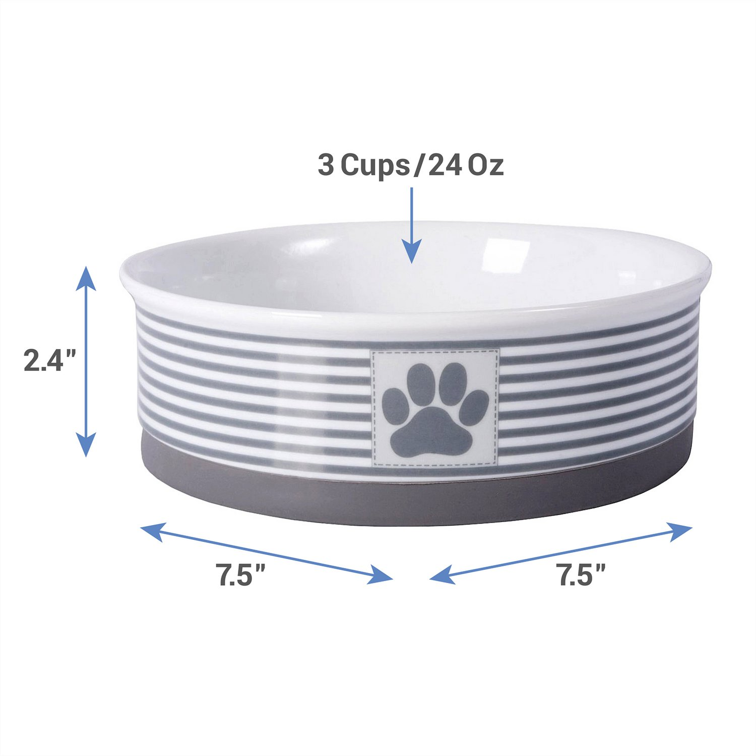 Bone Dry Paw Patch And Stripes Ceramic Dog And Cat Bowl