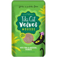 Tiki Cat Velvet Mousse Tuna & Mackerel Grain-Free Wet Cat Food, 2.8-oz pouch, case of 12