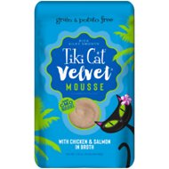 Tiki Cat Velvet Mousse Chicken & Salmon Grain-Free Wet Cat Food, 2.8-oz pouch, case of 12