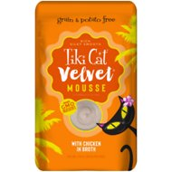 Tiki Cat Velvet Mousse Chicken Grain-Free Wet Cat Food, 2.8-oz pouch, case of 12