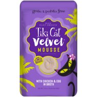 Tiki Cat Velvet Mousse Chicken & Egg Grain-Free Wet Cat Food, 2.8-oz pouch, case of 12