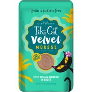 Tiki Cat Velvet Mousse Tuna & Chicken Grain-Free Wet Cat Food, 2.8-oz pouch, case of 12