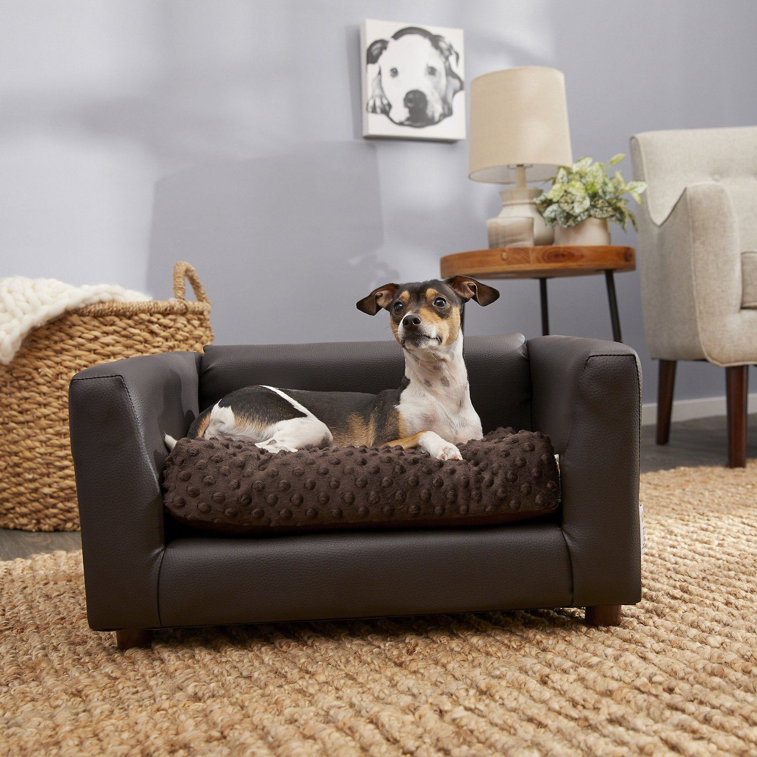 Keet Fluffly Deluxe Sofa Dog Bed W Removable Cover Chocolate Small Chewy Com