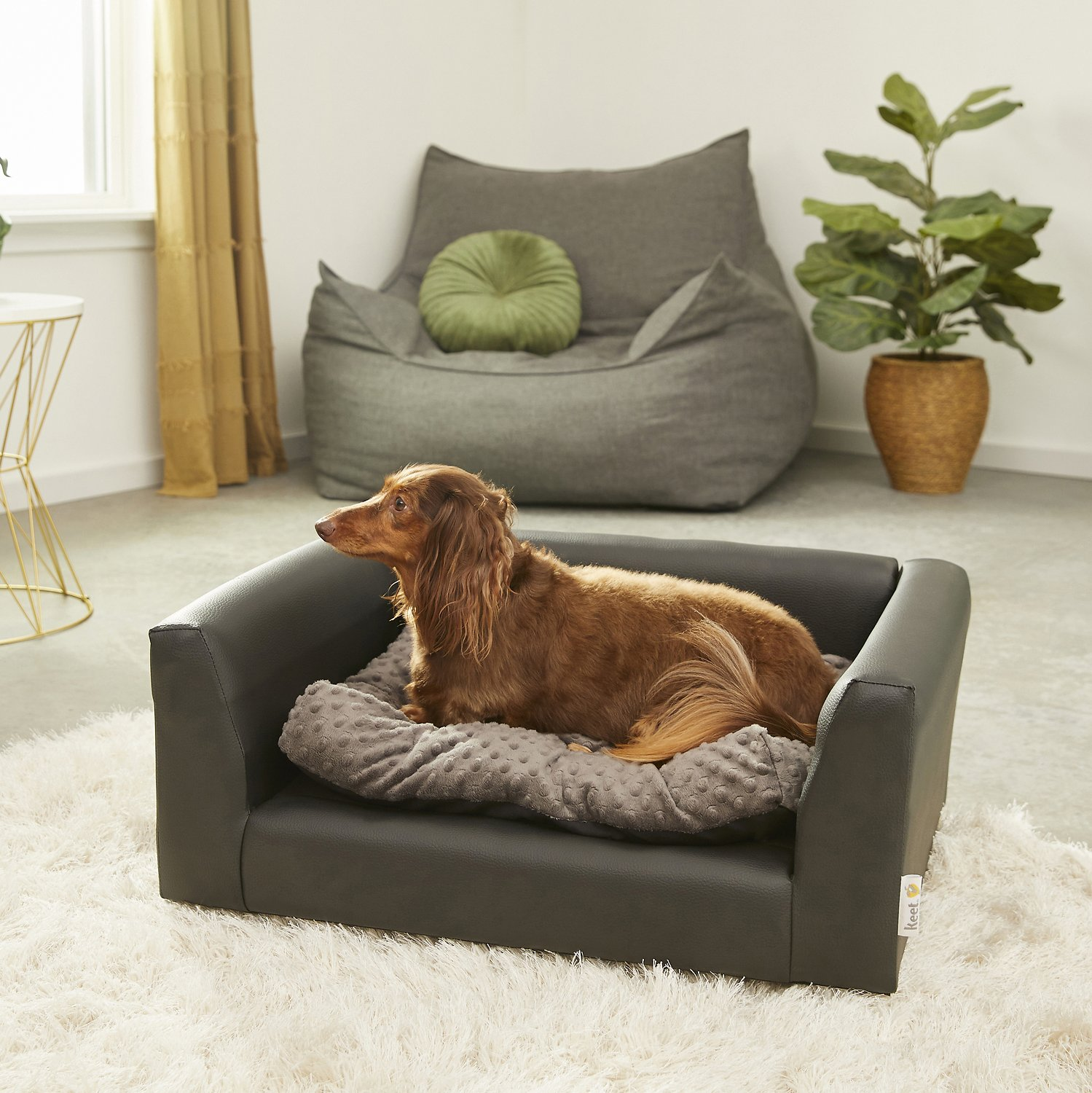 Keet Fluffly Deluxe Dog Bed Sofa, Charcoal, Medium - Chewy.com