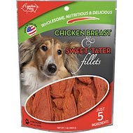 Carolina Prime Pet Chicken Breast & Sweet 'Tater Fillets Dog Treats, 1-lb bag