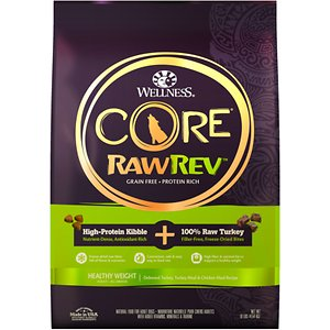 Wellness CORE RawRev Grain-Free Healthy Weight Recipe with Freeze Dried Turkey Dry Dog Food, 10-lb bag; Give your dog what she instinctively craves with Wellness CORE® RawRev Healthy Weight. This delectable food allows you to add raw easily and safely to every meal. A high-protein, grain-free kibble is combined with 100% pure bites of freeze-dried turkey to create an incredibly tasty boost of protein, enzymes and minerals in their most natural state. This combination creates a nutrient-rich meal with high fiber & optimal fat to support a healthy weight. With more of the protein your dog craves and no fillers like wheat, corn or soy, it's easy to provide the nutrition your dog needs to thrive from the core.