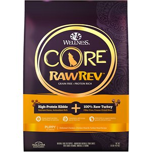 Wellness CORE RawRev Grain-Free Puppy Recipe with Freeze-Dried Turkey Dry Dog Food, 10-lb bag; Give your dog what she instinctively craves with Wellness CORE® RawRev Grain-Free Puppy Recipe with Freeze-Dried Turkey Dry Dog Food. This delectable food allows you to add raw easily and safely to every meal. A high-protein, grain-free kibble is combined with 100% pure bites of freeze-dried turkey to create an incredibly tasty boost of protein, enzymes and minerals in their most natural state. This combination creates a nutrient-rich meal with DHA to support healthy growth of brain and eyes, lean muscle development, healthy weight, and a shiny, healthy coat. With more of the protein your puppy craves and no fillers like wheat, corn or soy, it's easy to provide the nutrition your puppy needs to thrive from the core.