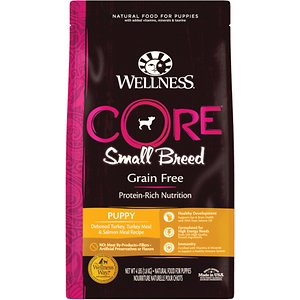 Wellness CORE Grain-Free Small Breed Puppy Deboned Turkey Recipe Dry Dog Food, 4-lb bag; Give your small breed puppy a big boost with Wellness CORE Grain-Free Small Breed Puppy Deboned Turkey Recipe Dry Dog Food. This unique recipe is based on the nutritional philosophy that pets, based on their primal ancestry, thrive on a natural diet mainly comprised of meat. Each bite is packed with a high concentration of quality animal protein along with nutrient-rich superfoods and added nutritional supplements. It\\\'s everything your small breed puppy needs to thrive in one bowl, added support, like DHA, to for cognitive development. With more of the protein your pet craves and no fillers like wheat, corn or soy, it's easy to provide the nutrition your friend needs to thrive.