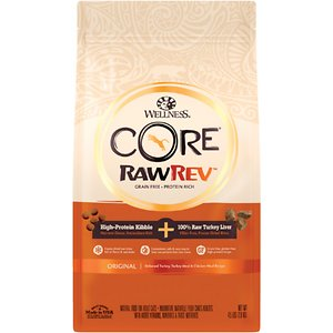 Wellness CORE RawRev Grain-Free Original Recipe with Freeze-Dried Turkey Liver Dry Cat Food, 4.5-lb bag; Give your cat what she instinctively craves with Wellness CORE RawRev Grain-Free Original Recipe with Freeze-Dried Turkey Liver Dry Cat Food! This delectable food allows you to add raw easily and safely to every meal. A high-protein, grain-free kibble is combined with 100% pure bites of freeze-dried turkey to create an incredibly tasty boost of protein, enzymes and minerals in their most natural state. With more of the protein your cat craves and no fillers like wheat, corn or soy, it's easy to provide the nutrition your cat needs to thrive from the core.
