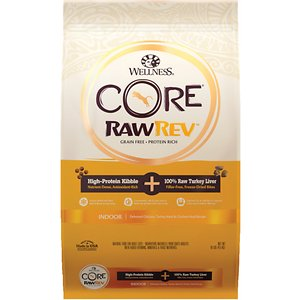 Wellness CORE RawRev Grain-Free Indoor Recipe with Freeze-Dried Turkey Liver Dry Cat Food, 10-lb bag; Give your cat what she instinctively craves with Wellness CORE RawRev Grain-Free Indoor Recipe with Freeze-Dried Turkey Liver Dry Cat Food! This delectable food allows you to add raw easily and safely to every meal. A high-protein, grain-free kibble is combined with 100% pure bites of freeze-dried turkey to create an incredibly tasty boost of protein, enzymes and minerals in their most natural state. This combination creates a nutrient-rich meal with high fiber & optimal fat to support the lifestyle of an indoor cat. With more of the protein your cat craves and no fillers like wheat, corn or soy, it's easy to provide the nutrition your kitty needs to thrive from the core.