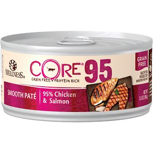 Wellness CORE 95% Chicken & Salmon Grain-Free Canned Cat Food, 5.5-oz, case of 12; Give your cat something real with Wellness CORE 95% Chicken & Salmon Grain-Free Canned Cat Food. This protein-rich, grain-free meal contains pure proteins and an antioxidant-rich superfood. Not only is it grain-free, it\\\'s protein packed and fortified with vitamins and minerals to ensure your cat has the nutrition they need to thrive. Best of all, it\\\'s free from carrageenan, artificial colors, flavors or preservatives! Serve this delectable recipe as a complete meal or tasty topper to entice your cat\\\'s appetite. With more of the protein your cat craves and no fillers like wheat, corn or soy, it's easy to provide the nutrition your cat needs to thrive from the core.