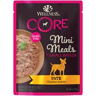 Wellness CORE Grain-Free Small Breed Mini Meals Chicken Pate Dog Food Pouches, 3-oz, case of 12