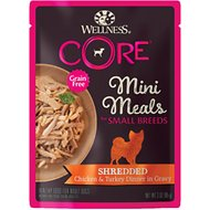 Wellness CORE Grain-Free Small Breed Mini Meals Shredded Chicken & Turkey in Gravy Dog Food Pouches, 3-oz, case of 12