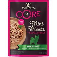 Wellness CORE Grain-Free Small Breed Mini Meals Shredded Chicken & Lamb in Gravy Dog Food Pouches, 3-oz, case of 12