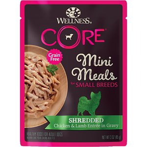 Wellness CORE Grain-Free Small Breed Mini Meals Shredded Chicken & Lamb in Gravy Dog Food Pouches, 3-oz, case of 12; Give your small dog big flavor and nutrition with Wellness CORE Grain-Free Small Breed Mini Meals Shredded Chicken & Lamb in Gravy Dog Food Pouches! These mighty-nutritious mini-meals are packed with nutrients and formulated just for your small dog. The perfect portions of shreds and gravy are rich in premium protein that comes from real meat, essential nutrients from real vegetables, and added vitamins and minerals for the health of your pet. This meal will nourish your best friend without grains, meat by-products, artificial flavors, colors or preservatives—so you know you\\\'re filling your small dog\\\'s bowl with big flavor and nutrition—and the easy-open pouches make it even easier to feed your pet well.