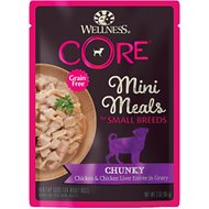 Wellness CORE Grain-Free Small Breed Mini Meals Chunky Chicken & Chicken Liver in Gravy Dog Food Pouches, 3-oz, case of 12