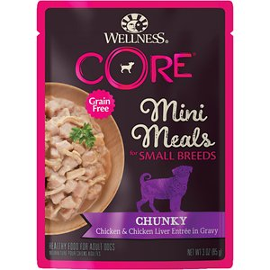 Wellness CORE Grain-Free Small Breed Mini Meals Chunky Chicken & Chicken Liver in Gravy Dog Food Pouches, 3-oz, case of 12; Let your small dog think big with Wellness CORE Grain-Free Small Breed Mini Meals Chunky Chicken & Chicken Liver in Gravy Dog Food Pouches! These mighty-nutritious mini-meals are packed with nutrients and formulated just for your small dog. The perfect portions of shreds and gravy are rich in premium protein that comes from real meat, essential nutrients from real vegetables, and added vitamins and minerals for the health of your pet. This meal will nourish your best friend without grains, meat by-products, artificial flavors, colors or preservatives—so you know you\\\'re filling your small dog\\\'s bowl with big flavor and nutrition—and the easy-open pouches make it even easier to feed your pet well.