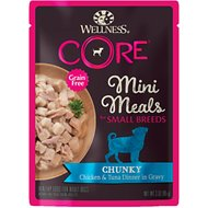 Wellness CORE Grain-Free Small Breed Mini Meals Chunky Chicken & Tuna in Gravy Dog Food Pouches, 3-oz, case of 12