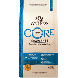 Wellness CORE Grain-Free Indoor Salmon & Herring Meal Recipe Dry Cat Food, 2-lb bag; Give your indoor cat a big boost with Wellness CORE Grain-Free Indoor Salmon & Herring Meal Recipe Dry Cat Food. This unique recipe is based on the nutritional philosophy that pets, based on their primal ancestry, thrive on a natural diet mainly comprised of meat. Each bite is packed with a high concentration of quality animal protein along with nutrient-rich superfoods and added nutritional supplements. It\\\'s everything your kitty needs to thrive in one bowl, plus glucosamine, chondrotin and L-Cartintine to support an indoor cats\\\' less active lifestyle. With more of the protein your cat craves and no fillers like wheat, corn or soy, it's easy to provide the nutrition your cat needs to thrive from the core.