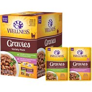 Wellness Healthy Indulgence Gravies Grain-Free Variety Pack Cat Food Pouches, 3-oz, case of 32