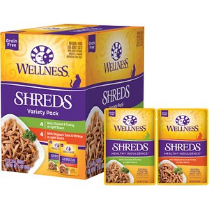 Wellness Healthy Indulgence Shreds Grain-Free Variety Pack Cat Food Pouches, 3-oz, case of 32; Treat your picky cat to a meal even they can love with Wellness Healthy Indulgence—a menu of delectable tastes and textures to satisfy the most demanding palate.  With taste in mind, but health at heart, they smother chicken, turkey, tuna in a delicious sauce that\\\'s good to the last lick. Without artificial colors or flavors, this is the Wellness way to enjoy life's everyday indulgences. Their favorite Shreds Variety Pack includes 32 pouches featuring two delicious recipes: Chicken & Turkey in Light Sauce and Skipjack Tuna & Shrimp in Light Sauce.
