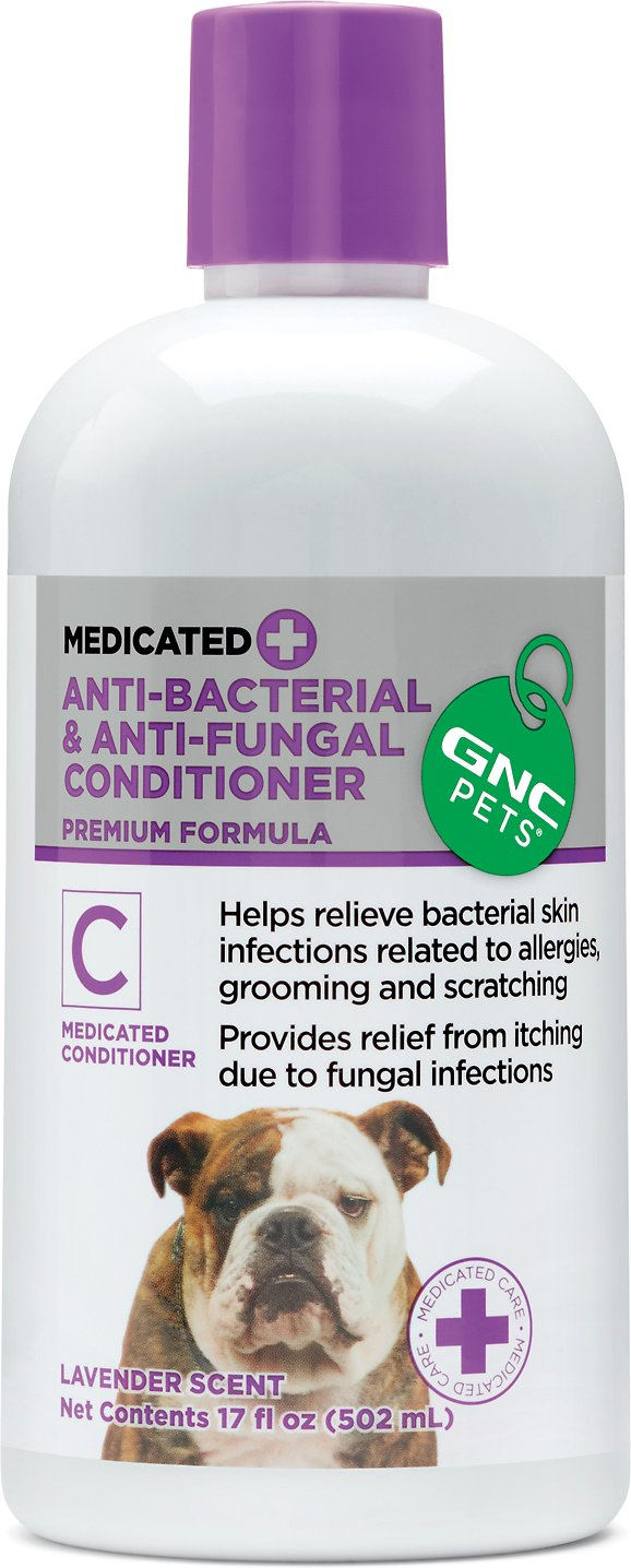 Gnc Pets Anti Bacterial Fungal Medicated Dog Conditioner Lavender Scent 17 Oz Bottle