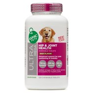 GNC Pets Ultra Mega Hip & Joint Health Senior Beef Flavor Chewable Tablets Dog Supplement, 120 count