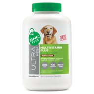 GNC Pets Ultra Mega Multivitamin Plus Senior Beef Flavor Chewable Tablets Dog Supplement, 180 count