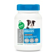 GNC Pets Ultra Mega Skin & Coat Essentials Beef Flavor Chewable Tablets Dog Supplement, 60 count