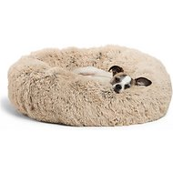 Best Friends by Sheri The Original Calming Shag Vegan Fur Donut Cuddler Cat & Dog Bed, Taupe, Small