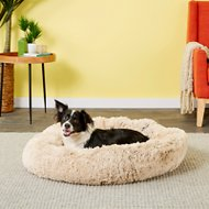 Best Friends by Sheri Luxury Shag Donut Self-Heating Orthopedic Dog & Cat Bed, Medium, Taupe
