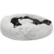 Best Friends by Sheri Luxury Shag Donut Self-Heating Orthopedic Dog & Cat Bed, Frost,	XX-Large