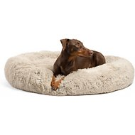 Best Friends by Sheri Luxury Shag Donut Self-Heating Orthopedic Dog & Cat Bed, Taupe, XX-Large